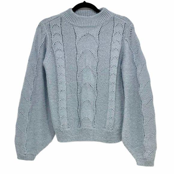 H&M Fancy Knit Wool Sweater Blue Small EUC